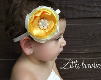 Daffodil - Yellow & White Headband, Yellow Ombre Headband, Pearl headband, Color Block Satin Flower, Baby Yellow Headband