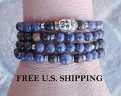 108 Mala, Spot Jasper, Buddha Mala, wrap Bracelet or Necklace, Buddhist Rosary, Yoga, Yoga wrap,  prayer beads, Reiki,  buddha necklace