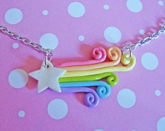 Pastel Rainbow Shooting Star Necklace