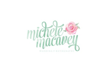 Custom Logo Design Premade Logo and Watermark for Photographers and Small Businesses Watercolor Chabby Chic Vintage Script with Flower