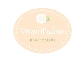 Custom Logo Design Premade Logo and Watermark for Photographers and Small Crafty Businesses Laurel Frame with Hand Drawn Flower and Script