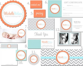 Premade Custom Marketing Package for Photographers and Small Crafty Boutiques Logo Business Card Branding Package Scallop Frame Shabby Chic