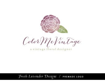 Custom Logo Design Premade Logo and Watermark for Photographers and Small Businesses Hand Drawn Blooming Flower with Watercolor Vintage