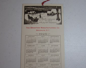Unused embossed 1929 salesman sample christmas 12 month calendar embossed graphics of victorian snow covered cottages horse drawn sleigh