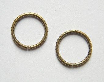 Antiqued Brass 20mm Jump Rings Open Etched 13 Gauge Connector Link - 12 pcs. (b121)