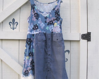 L Boho dress, rustic gypsy cowgirl dress, L, blue floral, hippie Gypsy artsy dress, rustic tattered, upcycled eco fashion