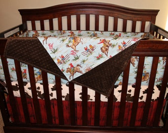 Cowboy Baby Boy Crib Bedding - Barn Dandy Cowboy, Pony, and Barn Wood Crib Bedding Ensemble