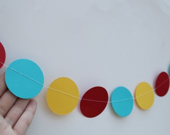 Circus Party Decoration- Paper Garland 5 Foot Long- red,teal and yellow