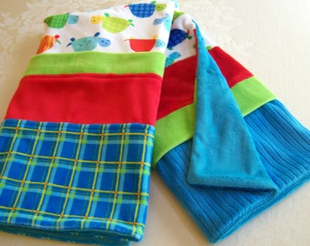 Red, Blue, Green, Multi-Color Turtles Soft Minky Baby Blanket