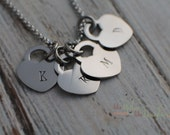 Personalized Heart Necklace - Hand Stamped Jewelry - Personalized Necklace - Hand Stamped Heart Jewelry Valentine's Day