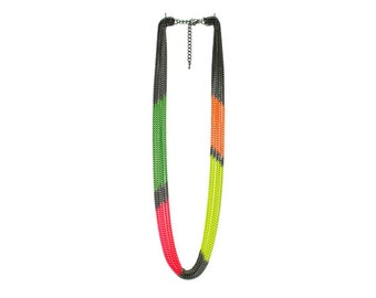 Multi Strand Neon Color Block Chain Necklace
