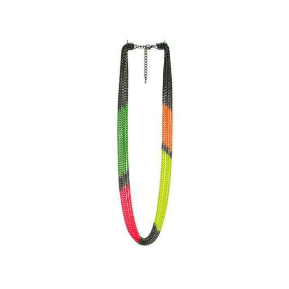 Multi Strand Neon Color Block Chain Necklace