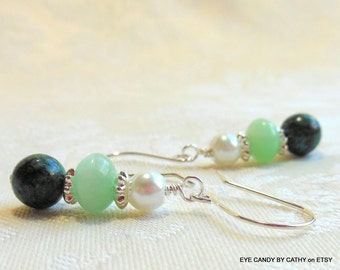 Light green and turquoise earrings