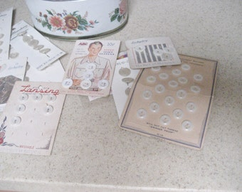 Vintage White Button Collection in Meister Oval Floral Tin