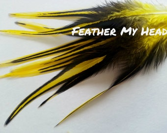 "10 Piece Yellow Laced Feather Hair Extension Wide With Fluff 5"" to 7"" Long"