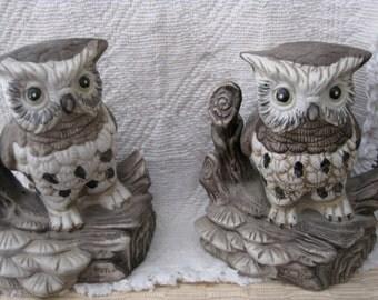Set of Vintage Porcelain Owl Figurines