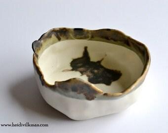 Porcelain Dish - Pinched Bowl - Textured and Glazed - Food Safe - Porcelain Stoneware