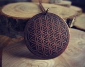 Flower of Life Pendant - Etched Copper Sacred Geometry Necklace