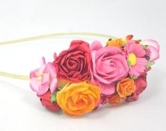 Floral Hairpiece Flowercrown Headband Flower Fascinator Vintage Wedding Party Bridal Accessory Bridesmaid statement