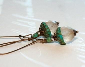 Glass Acorn earrings, Vertigris Earrings, Rustic earrings, Long dangle earrings