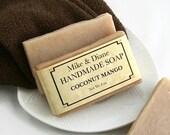 Coconut Mango Soap, Bar Soap, Olive Oil Soap, Sunflower Oil Soap, Bath Soap, Natural Handmade Soap, Gift Soap, Hot Process Soap, Beige Soap