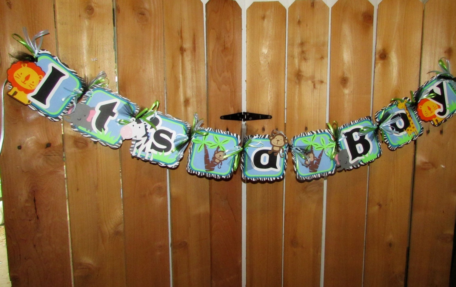 zoo animal themed baby boy shower banner its by purplezebrapaperco