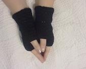 Black fingerless gloves, black crochet gloves, black mitts, black wristwarmers, neutral fingerless gloves