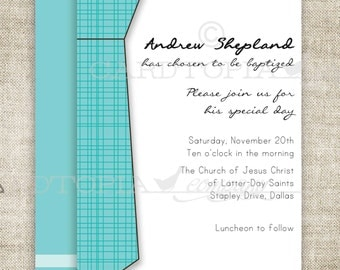 BAPTISM INVITATION LDS Tie Boy Baptism Invitation Picture Latter-Day Saint Mormon Digital diy Printable Personalized - 156473721
