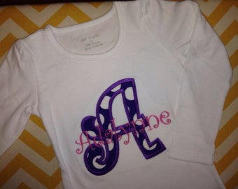 Girls initial shirt - applique initial shirt