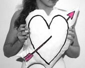 Arrow through Heart  Pillow - Black and Neon Pink Print on White Cotton Canvas