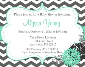 Teal Chevron Bridal or Baby Shower Invitation - YOU PRINT