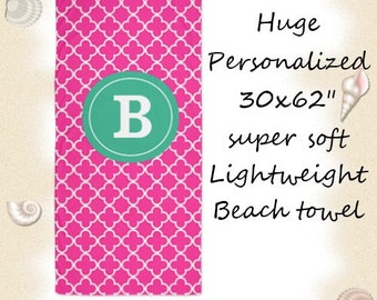 Pink Green Quatrefoil Personalized Monogram Beach Towel -  YOU CHOOSE COLORS
