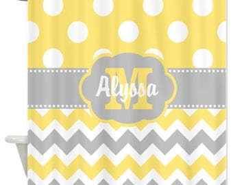 Yellow Gray Chevron Dots Personalized Fabric Shower Curtain - YOU CHOOSE COLORS