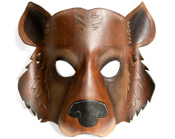 Leather Grizzly Bear Mask