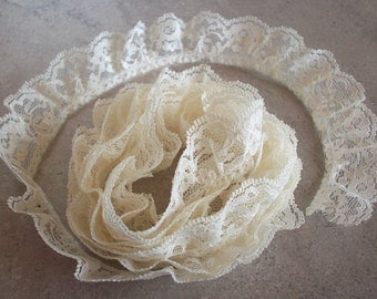 """2 Yards Ruffled Floral Pattern Cream Lace  1 1/4"""" Wide Cream Ruffled Lace  2 yards plus 9 inches"""