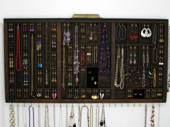Jewelry Organizer, Espresso Jewelry Display Case