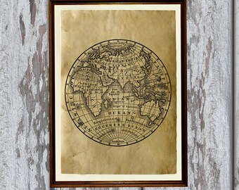 Planet earth poster Vintage world map Antique geography print AK403-1