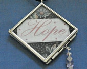 Fabric Applique Hope in Hinged Glass and Metal Locket with Swarovski Crystal Beads