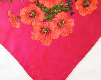 Jacqmar scarves, seventies fashion floral scarves, hair scarves, red with orange flowers