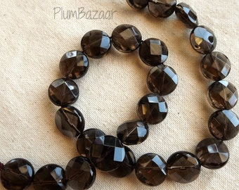 Large faceted smoky quartz coin beads, rich smoky brown, 16 inch strand of 15mm beads
