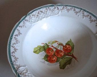 Charming Cherry Porcelain Serving Bowl Sterling China - Floyd Jones Vintage