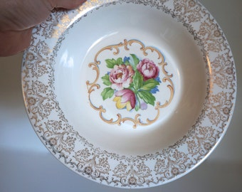 Beautiful Vintage Serving Bowl by Royal China Inc. Park Lane Dalton Design 22K with Pink Roses - Floyd Jones Vintage