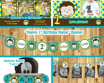 Mod Monkey Birthday Party Package monkey invitation Mod Monkey invite 1st Birthday Boy Printable 1 year old 1st birthday invitation boy