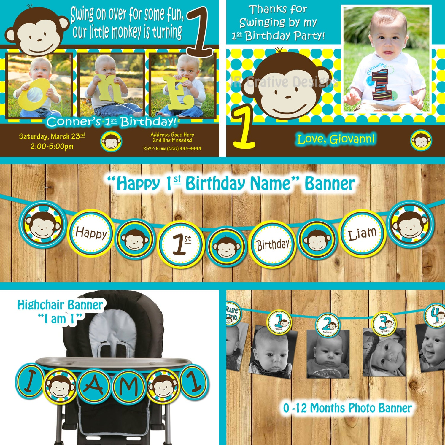 Mod Monkey Birthday Party Package monkey invitation Mod Monkey