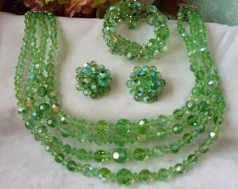 True Elegance: Vintage Green Crystal Glass 4 Strand Necklace Earrings Bracelet Demi Parure Set  Drop Dead Amazing