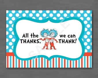 Dr. Seuss Thing 1 Thing 2 Birthday Thank You Note--Custom Printable