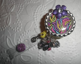 Super Cute Colorful Professional Retractable ID Badge Reel With Beautiful Colorful Bottle Cap With a Purple Button Flower and Glass Beads