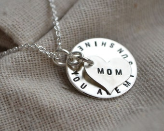 You are My Sunshine Necklace  - Personalize - Mother's Day