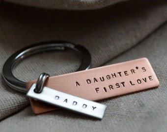 Father Daughter Keychain - Mixed Metal - Personalized - Hand Stamped - Quote
