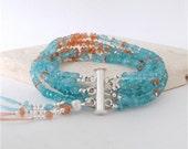 Multi strand apatite and sunstone bracelet, sterling silver and gemstone cuff, bridal cuff, statement bracelet, silk tassel
